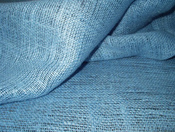 Burlap 100% Pure Linen Fabric Cloth Baby Blue Decorator ECO-friendly - Custom Yardage