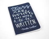 Pocket Moleskine, Hand-Lettered Modern Calligraphy, Small Writing Journal, White Ink on Navy, Tears Are Words that Need to be Written