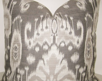 20 x 20 Ikat pillow cover Kravet Azaka Quartz gray grey taupe jacquard tribal damask