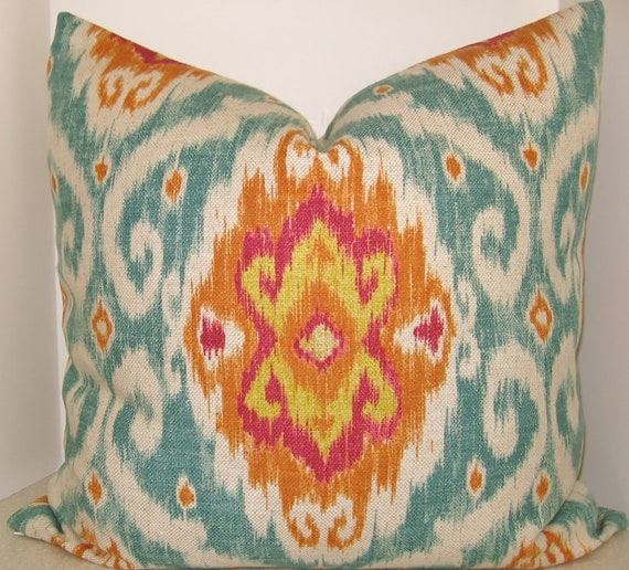 For Aimee two of the following BOTH SIDES 18 x 18 Iman Sunstone Ubud Ikat pillow cover turquoise green fuschia yellow orange