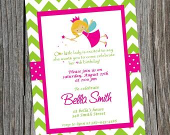 Printable Fairy Princess Birthday Party Invitation.  Customized Colorful Invitation.