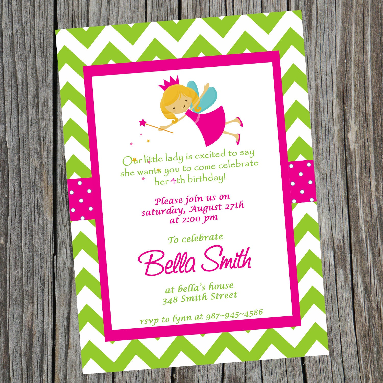 Printable Fairy Princess Birthday Party Invitation