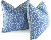 BLUE LEOPARD PRINT Pillow Cover -Green Silk Welt -Multiple Sizes Available