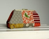 Echino Fall Patchwork Bird Frame Clutch Ready to Ship
