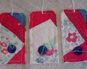 Quilted Patchwork Tags Vintage Cutter Quilt Feedsack Gift  Hang Tags Tie Ons Paper Fabric Labels Bookmarks itsyourcountry