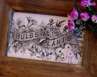 Vintage Garden Illustration, Bulbs and Plants Floral Banner w/ Butterfly, Barnwood Framed Original Altered Art, Home Decor itsyourcountry