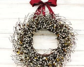 CRANBERRY & ANTIQUE WHITE-Summer Wreath-Fall Door Decor-Year Round  Wreath-Vintage Wedding Decor-Scented Cranberry-Choose Scent and Ribbon