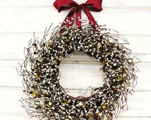 Christmas Wreaths-Winter Wreath-Rustic Home Decor-CRANBERRY & ANTIQUE WHITE Berry Wreath-Vintage Weddings-Gift for Mom-Scented Wreath-