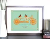 Art for Couples, Tandem Bicycle and Birds- 8.5X11 Inches, more sizes and colors, Valentine's Day, Wedding Gift