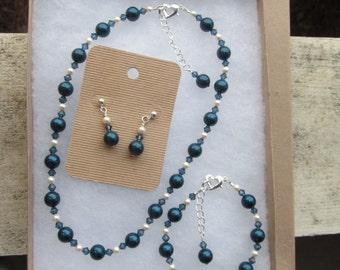 Wedding Jewelry Set Dark Blue & Ivory Swarovski Pearls and Crystals Bride, Bridesmaid, Flower Girl