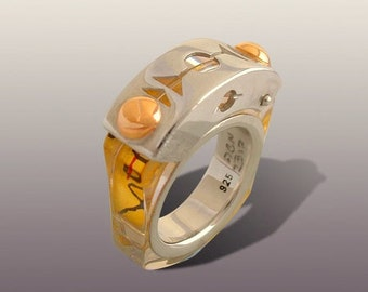 ANITSYA  RING .Silver And Gold Art