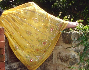 Gypsy Skirt, Maxi Skirt, Yellow Skirt, Indian Skirt, Sequin Skirt, Bollywood Skirt, Belly Dance Skirt, Festival Clothing, Floral Skirt