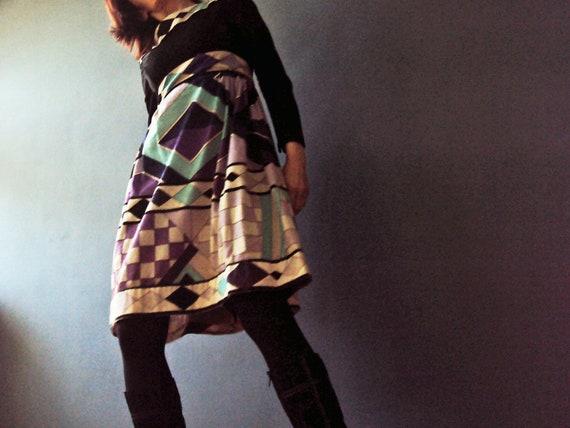 Vintage 70s Blue Violet Babydoll Velour Harlequin Hipster Empire Dress Small