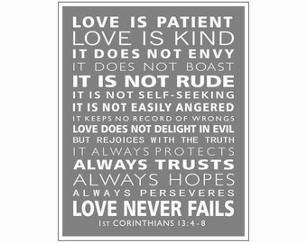 Typography 1st Corinthians 13,  Love Is Patient, Christian Wall Art,  Wall Decor, Typographic Art Print