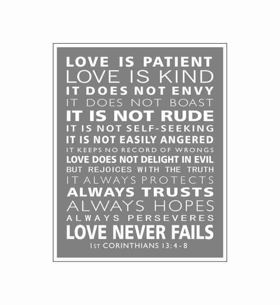 Typography 1st Corinthians 13 Love Is Patient Christian