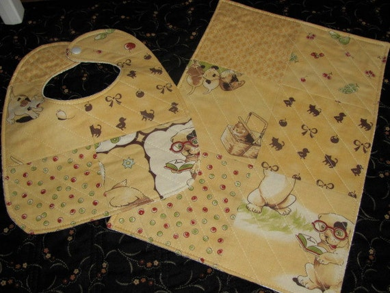 Quilted Baby Bib and Matching Burp Cloth in Gold and Cream Set from Lil Rascals Moda Fabric - Gift Set for Girl