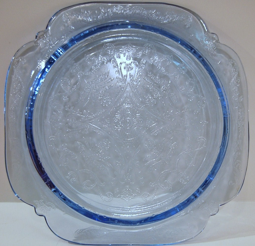 Vintage Blue Depression Glass Pressed Collectible Decorative