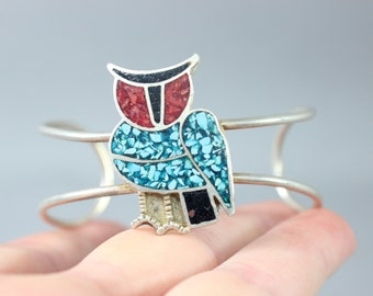 Native American Owl Cuff Sterling Silver Turquoise Coral Bracelet