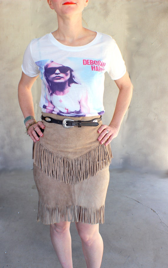 Southwestern Fringed  High Waisted Tawny Suede Pencil Skirt Size Small to Medium