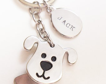 Personalized Dog Keychain Pet Loss Memorial Gift Hand Stamped Dog Name Pet Lovers Gift