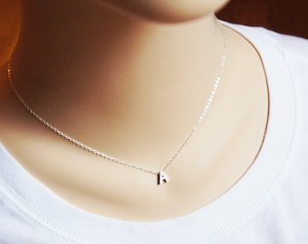 Initial Necklace Personalized Tiny Letter Monogram Simple Everyday Sterling Silver Alphabet Jewelry Gift for HerMothers Day