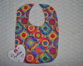 Handmade Baby Bib, Colorful, Circles, Bright, Waterproof PUL Back