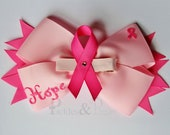 Breast Cancer Ribbon Hair Bow and Removable Clippie Set