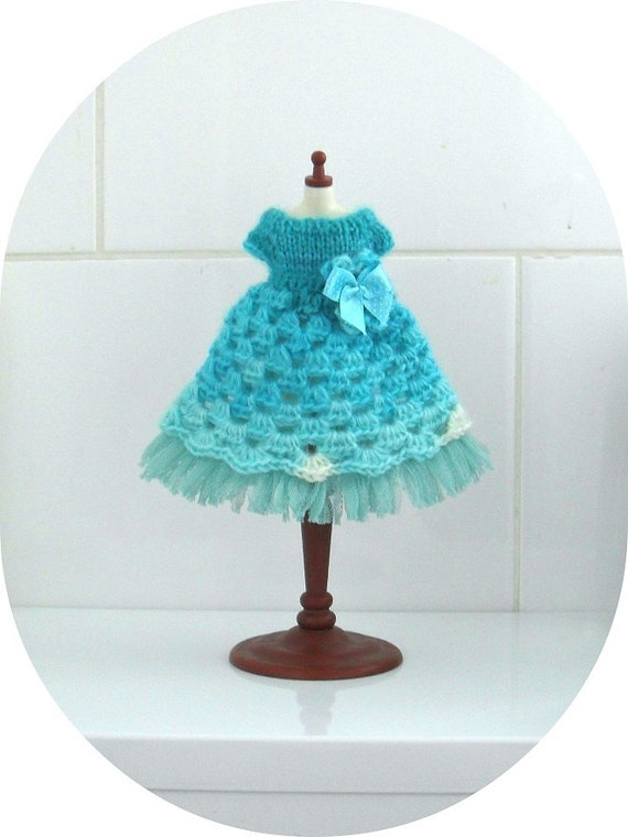 OOAK Soft Angora Collection in Turquoise & White Blythe Dress
