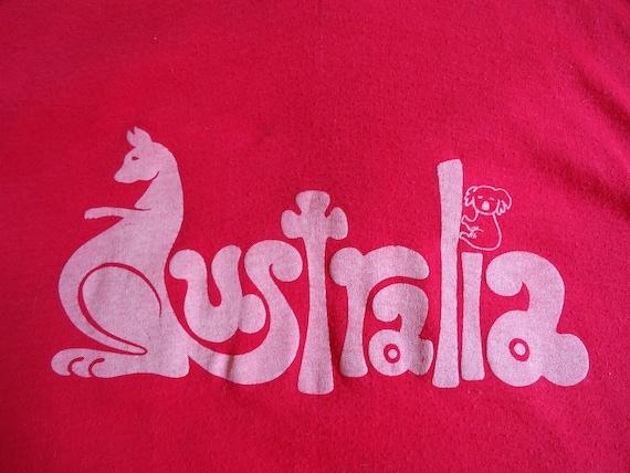 1970s Soft Red Australia Tshirt Small