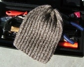 Men's Alpaca Wool Hat Slouch Cap Hand Knit Beige & Camel Brown Variegated for all your Winter Outdoor Activities (Made to Order)