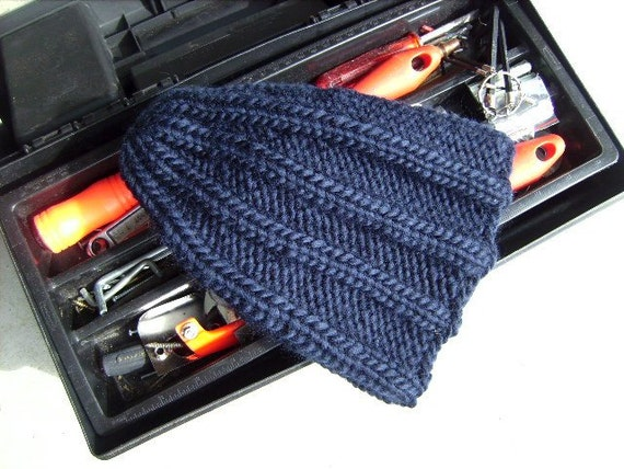 Men's Hat - Hand Knit Chunky Navy Blue Pure New Wool Men's Military Combat Hiking Biking Skiing Fishermen (One Size - Made to Order)