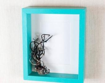 Modern Frame 5x7 - Aqua Blue, Turquoise - Deep Frame, Open Box Frame