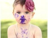 Baby Girls Headband - Wool Felt Plum Flower - Newborn, Infant, Toddler, Baby Girls Headband