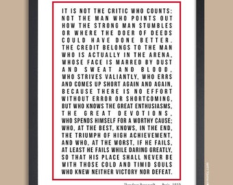Man in the Arena, Inspirational Quote Print, Theodore Roosevelt, Gift for Him, Graduation Gift, Christmas Gift, Office Art, UNFRAMED