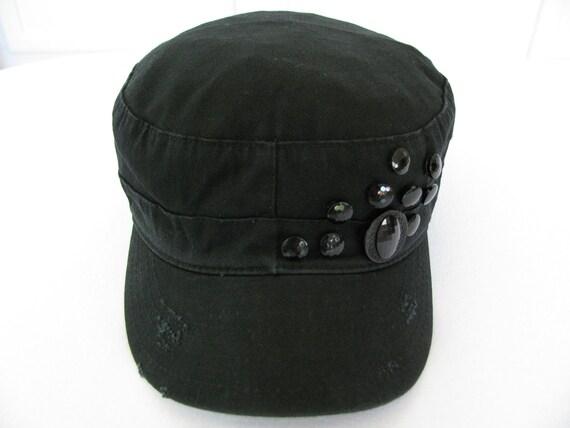 Cadet Hat Black Distressed with Vintage Black Buttons