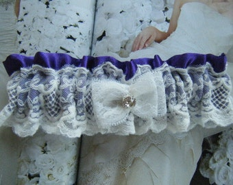 Purple Satin and Lace Garter