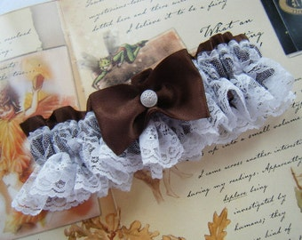 Brown Satin Garter with White Lace