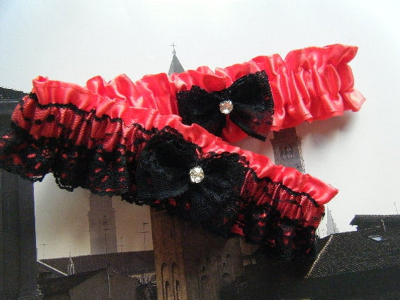 Red Satin with Black Lace Garter Set