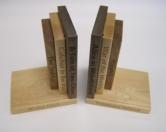 Classic Titles Black Walnut, Mahogany and Maple Bookends