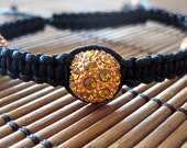 Macrame Bracelet with Gold  Pave Crystal beads