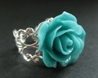 Turquoise Rose Ring. Teal Flower Ring. Filigree Ring. Adjustable Ring. Flower Jewelry. Handmade Jewelry.