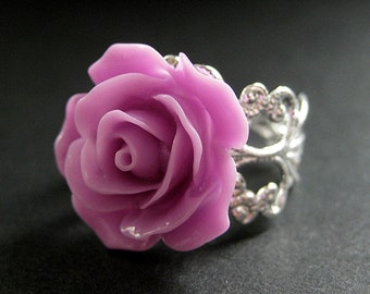 Lilac Purple Rose Ring. Purple Flower Ring. Filigree Ring. Adjustable Ring. Flower Jewelry. Handmade Jewelry.