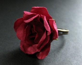 Burgundy Rose Ring. Maroon Flower. Paper Flower Ring. Paper Rose Ring. Adjustable Ring in Bronze. Handmade Jewelry.