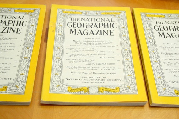3 National Geographic Magazines   ..   1950s