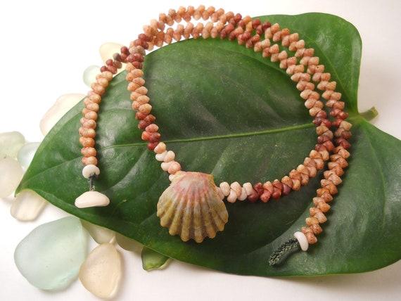 "Kauai Moonrise Shell with Kahelelani Shells Necklace- 16.5"" - Rare Authentic Hawaiian Shell Jewelry"