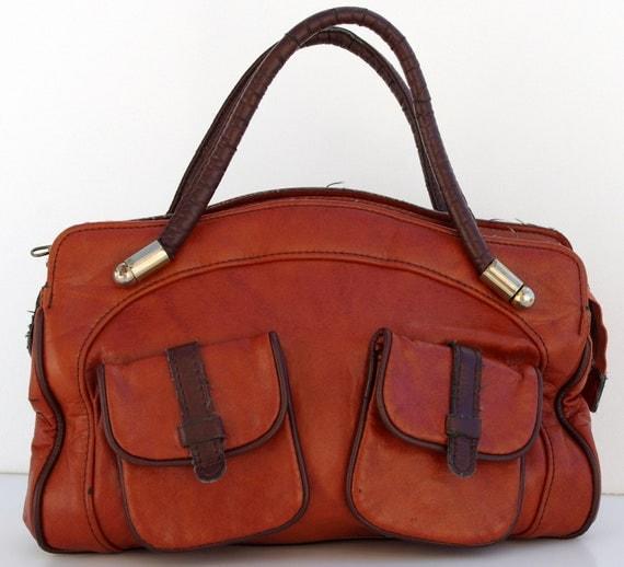 French Vintage Handbag, Caramel Brown Leather Bag
