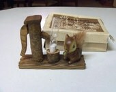 Vintage Enesco Japan Fur Squirrel Hourglass Kitchen Egg Timer w/Box