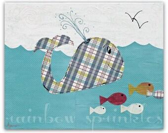 Children's Wall Art Print 8x10- whale, fish, ocean, sea, Kids Art, Nursery Art, nursery room decor