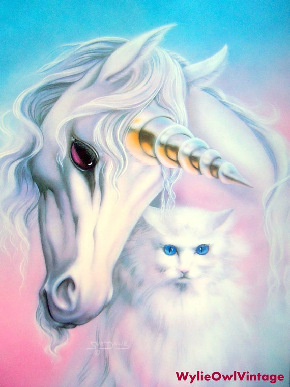 vintage sue dawe unicorn and cat poster 1991