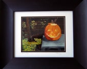 Jack o Lantern Art Print is framed and ready to hang, just in time for the Halloween Holiday.